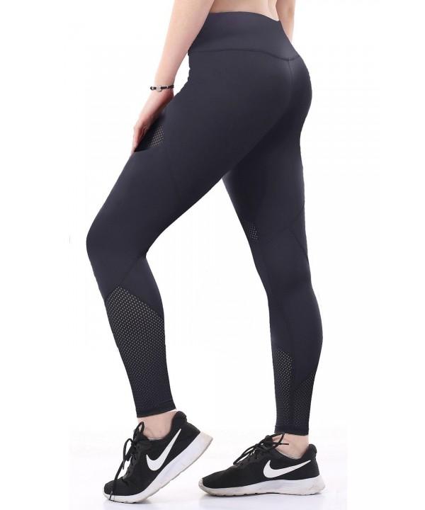 Women Mesh Yoga Pants With Pocket Compression Workout Leggings ...
