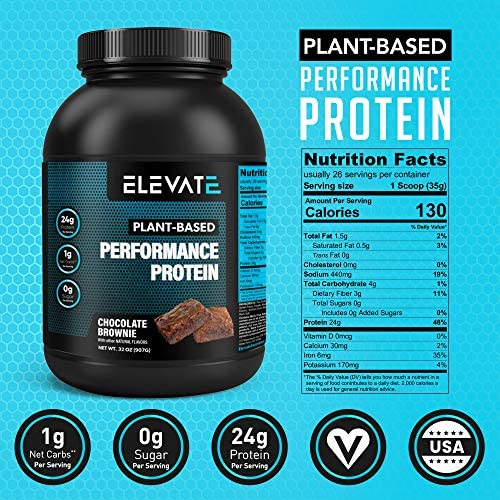 Amazon.com: Plant Based Vegan Protein Powder with High BCAAs and Glutamine, Low Carb Protein Powder Chocolate Brownie, Non GMO, NO Sugar, Dairy and Soy Free (26 Servings) - Elevate Nutrition: Health &