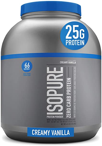 Amazon.com: Isopure Zero Carb, Vitamin C and Zinc for Immune Support, 25g Protein, Keto Friendly Protein Powder, 100% Whey Protein Isolate, Flavor: Creamy Vanilla, 4.5 Pounds (Packaging May Vary): Health & Personal