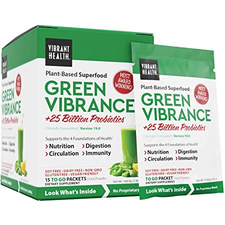 Amazon.com: Vibrant Health, Green Vibrance, Plant-Based Superfood to Support Immunity, Digestion, and Energy with Over 70 Ingredients, Vegan Friendly (15 Servings): Health & Personal Care