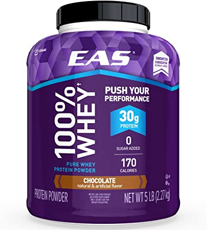 Amazon.com: EAS 100% Pure Whey Protein Powder, Chocolate, 5lb Tub, 30 grams of Whey Protein Per Serving (Packaging May Vary): Health & Personal Care