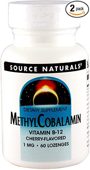 """Source Naturals Methylcobalamin Vitamin B-12, Cherry Flavored Sublingual, 1mg, 120 Tablets""的图片搜索结果"
