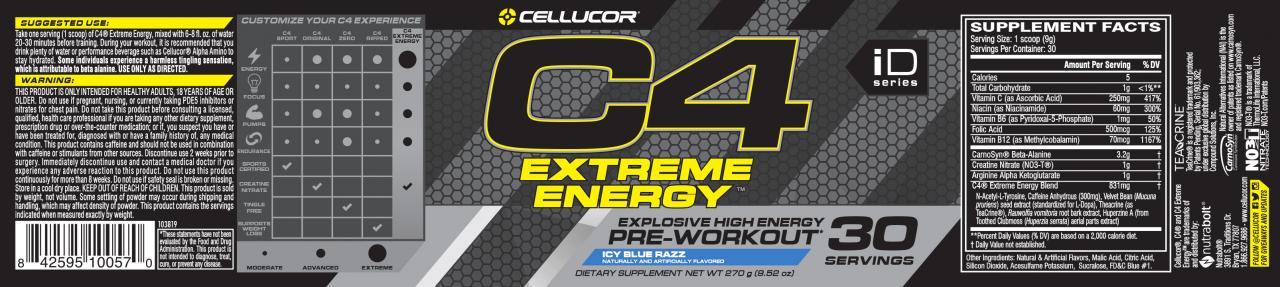 Cellucor C4 Extreme Energy Pre-Workout Powder, Icy Blue Razz, 30 Servings - Walmart.com - Walmart.com