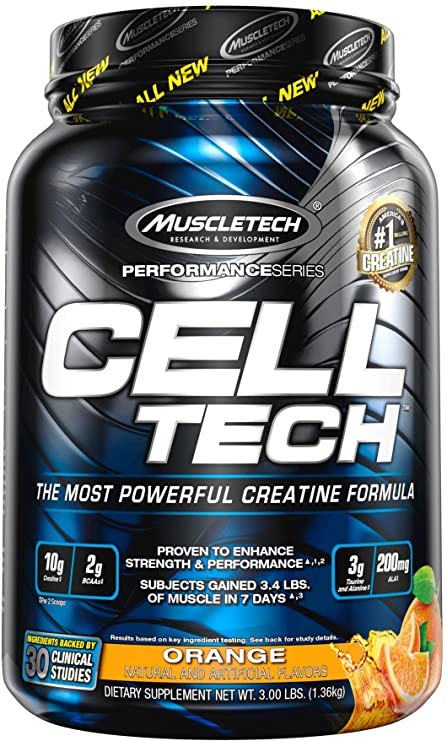 Amazon.com: Creatine Monohydrate Powder MuscleTech Cell-Tech Creatine Powder Post Workout Recovery Drink Muscle Builder for Men & Women Musclebuilding Creatine Supplements Orange, 3 lbs (28 Servings): Health & Personal Care