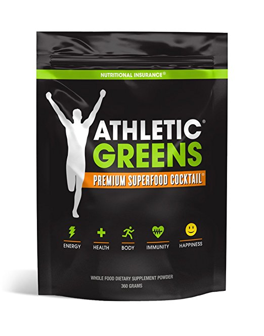 Athletic Greens Premium Green Superfood Cocktail - Complete Greens Powder Greens Supplement herbal extracts Alfalfa chlorella spinach grape seed extract for superior health - 30 Serving Pouch (360g) - SalusWell