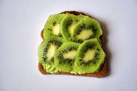 A Home Made Sandwich Of Avocado And Kiwi. Vitamins For Breakfast... Stock Photo, Picture And Royalty Free Image. Image 160928613.
