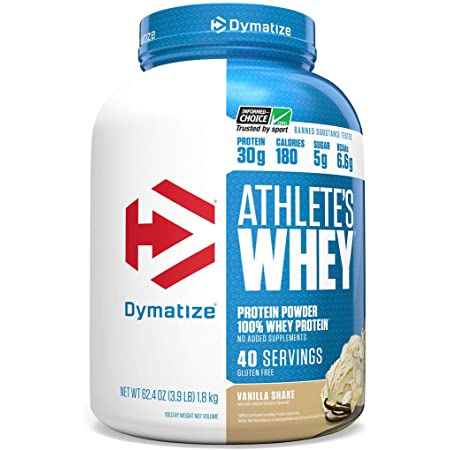 Amazon.com: Dymatize Athlete's Whey Protein Powder 30g of Protein, 6.6g BCAAs, Gluten Free, 4 Pound, Servings Vanilla, 40 Servings: Health & Personal Care