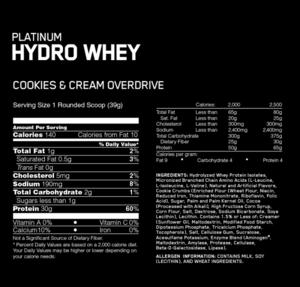 OPTIMUM NUTRITION Platinum Hydrowhey 30g of Protein per Serving (40 se – GOLD STANDARD NUTRITION